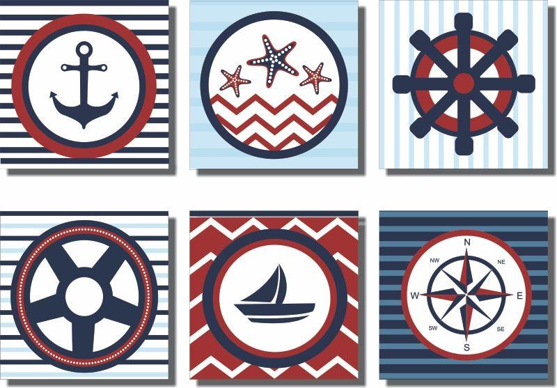 Quadros Decorativos Marinheiro 6 peças