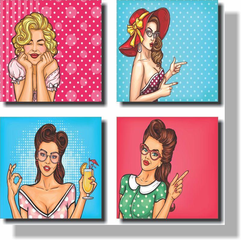 Quadros Decorativos Meninas 4 peças