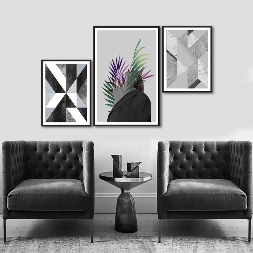 Quadros Decorativos Mulher Folhagem Moderno Geométrico