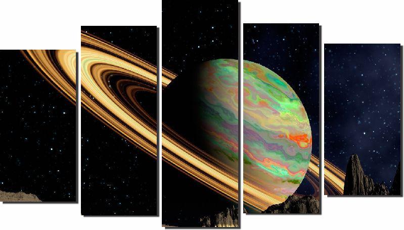 Quadros Decorativos Planeta Saturno 5 peças