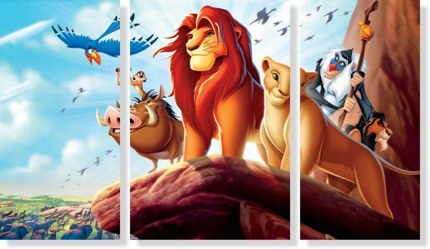 Quadros Decorativos Rei Leão para Quarto Infantil 3 peças