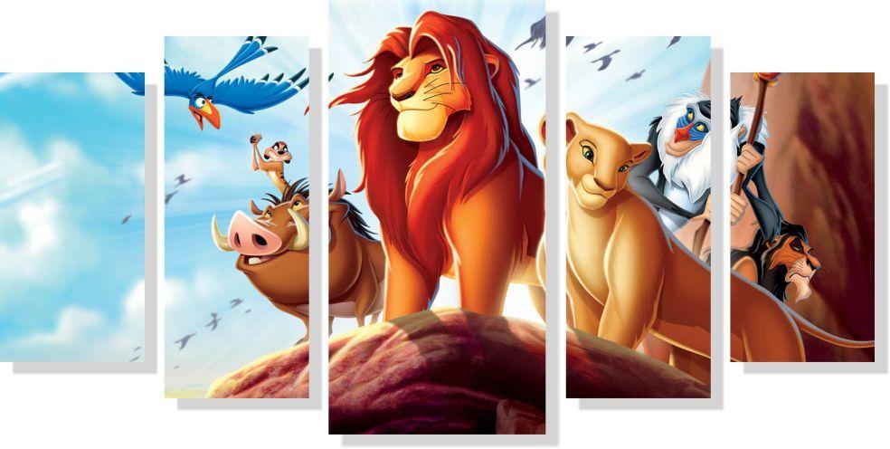 Quadros Decorativos Rei Leão para Quarto Infantil 5 peças