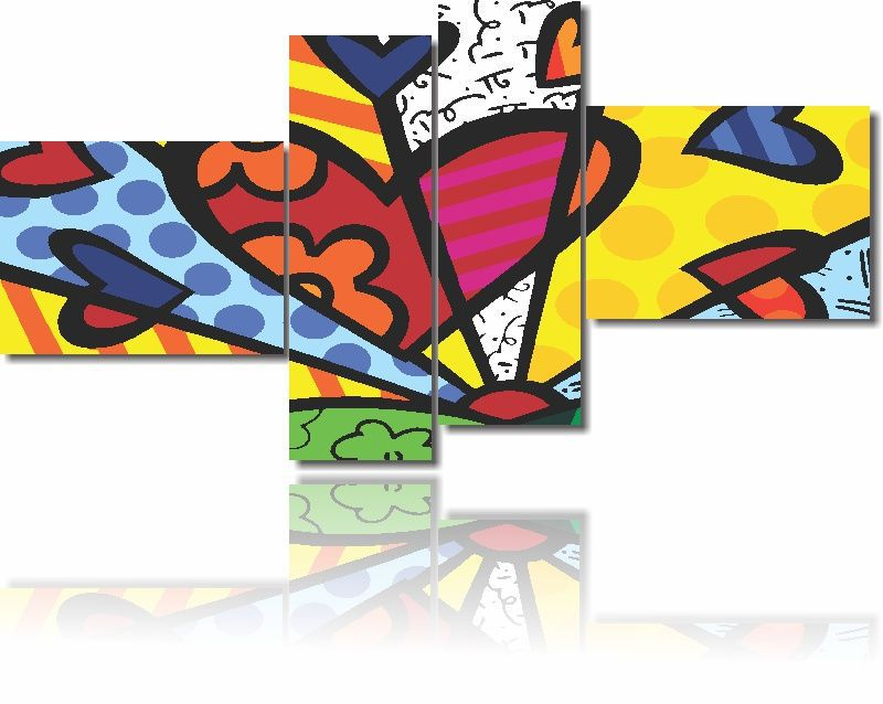 Quadros Decorativos Romero Britto New Day 4 Peças