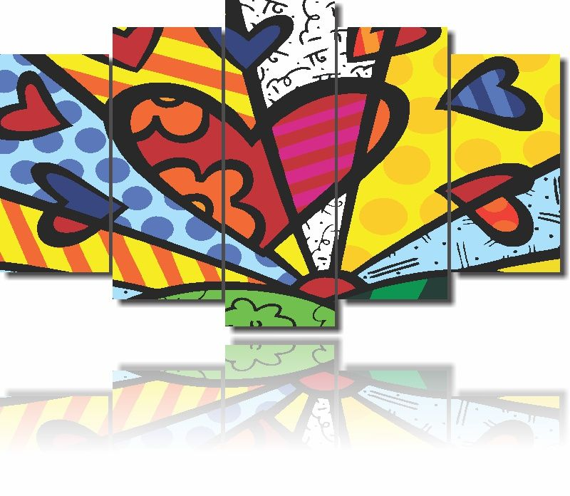 Quadros Decorativos Romero Britto New Day 5 Peças