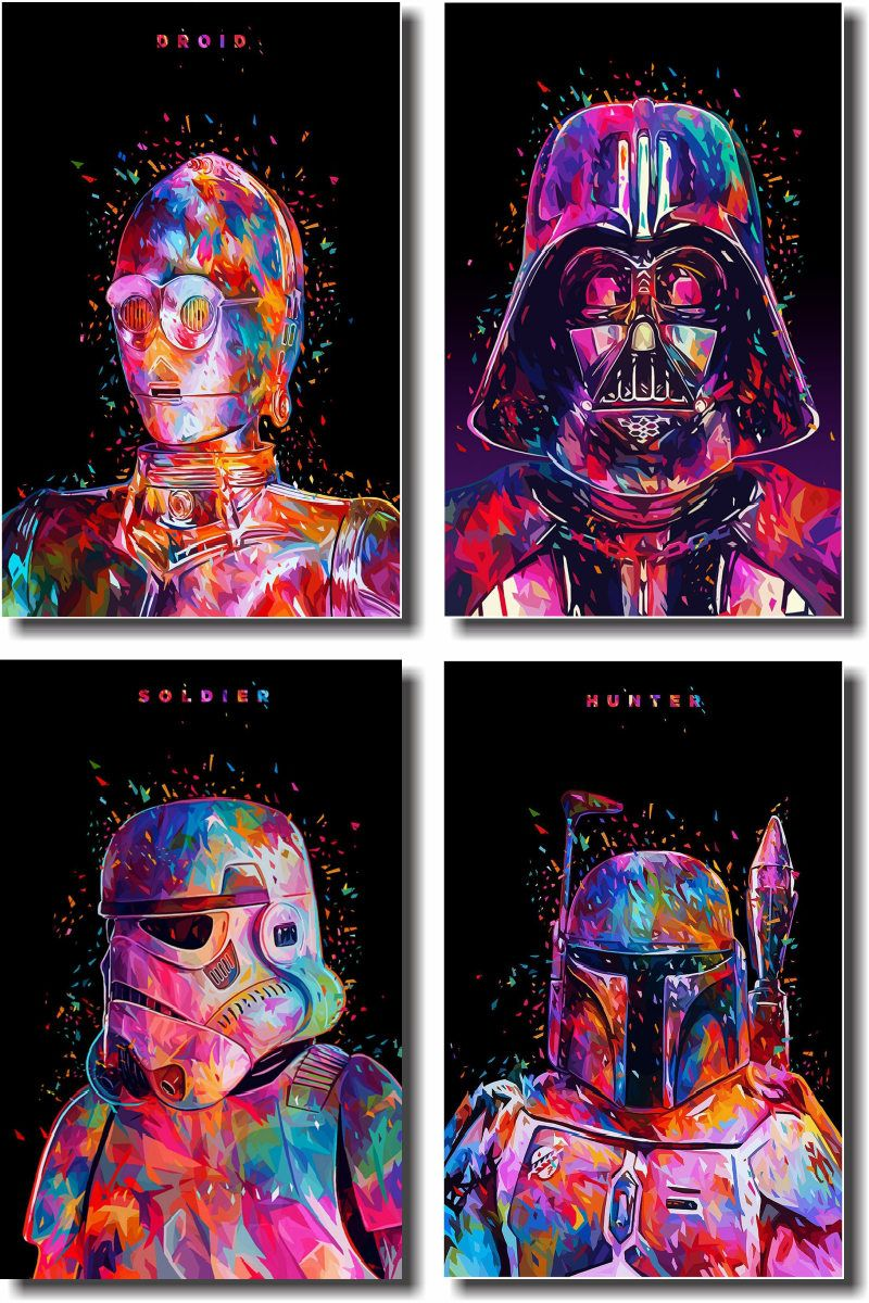 Quadros Decorativos Star Wars 4 peças m2
