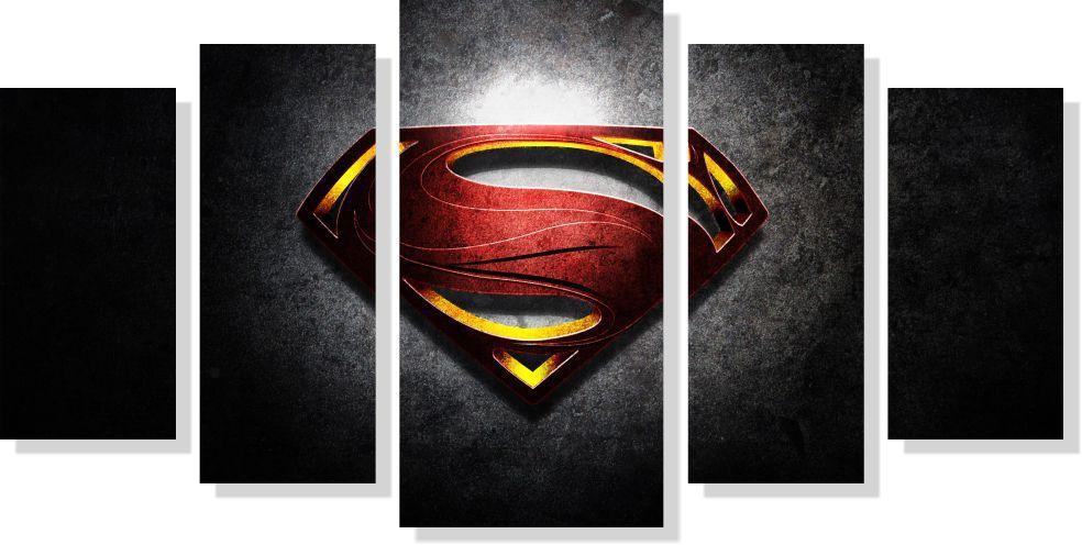 Quadros Decorativos Super Homem para Quartos 5 peças
