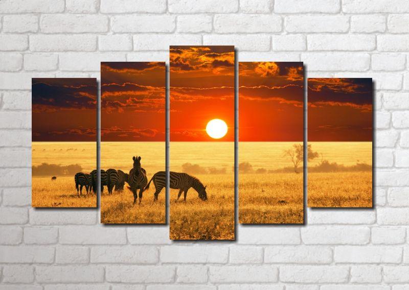 Quadros Decorativos Zebras para Sala 5 peças