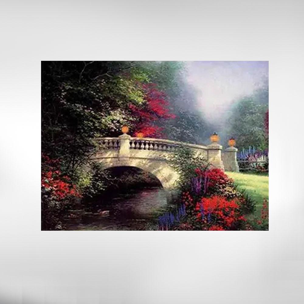 Quadros Paisagem ponte  com flores vermelha
