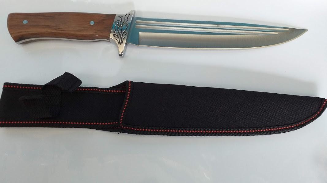 Faca Classica cabo Madeira Entalhe Inox 36 cm