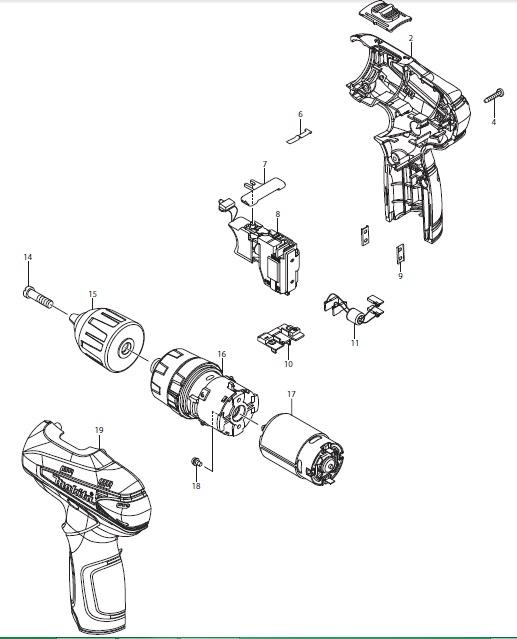 Peças p/ Parafusadeira/Furadeira-Bateria HP330DWE-MAKITA