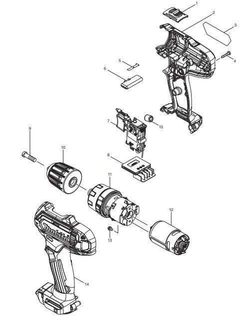 Peças p/ Parafusadeira/Furadeira-Bateria HP331D - MAKITA