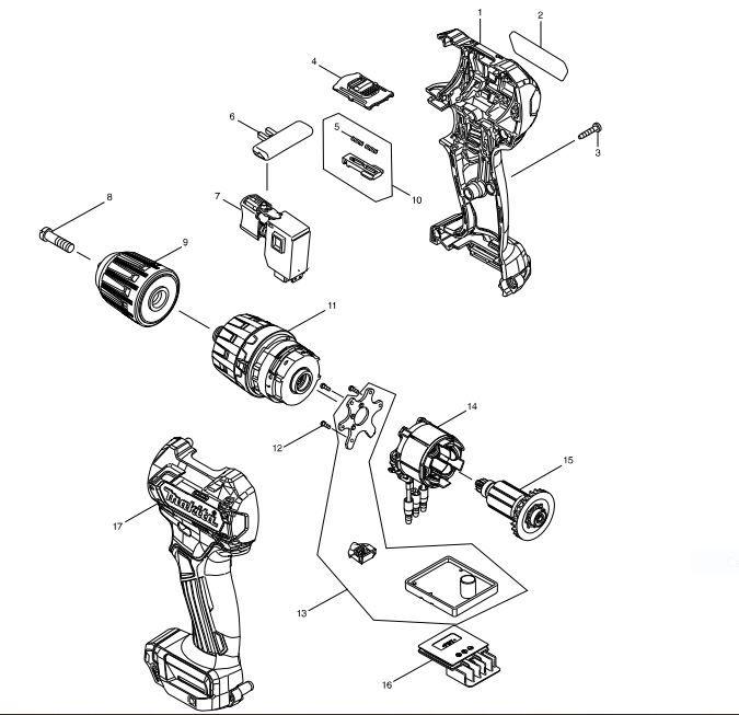 Peças p/ Parafusadeira/Furadeira-Bateria HP332D - MAKITA