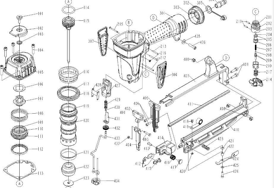 Peças p/ Pinador Pneumático AF600 - MAKITA
