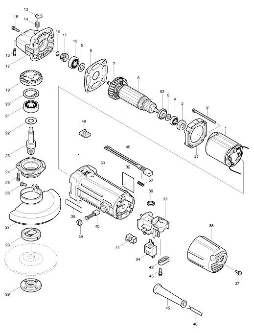 Peças para Esmerilhadeira MGA 450 - MAKITA