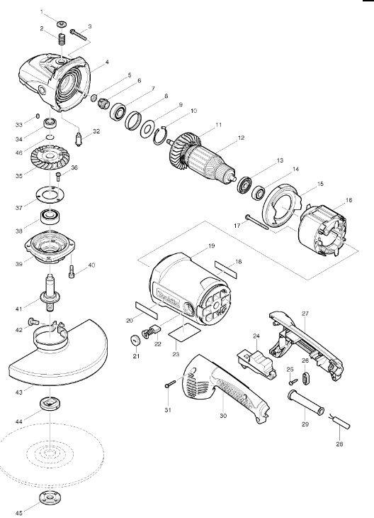 Peças para Esmerilhadeira MGA 900 - MAKITA