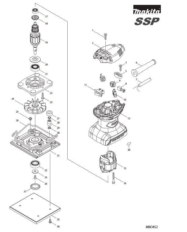 Peças para Lixadeira MBO 452 - Makita
