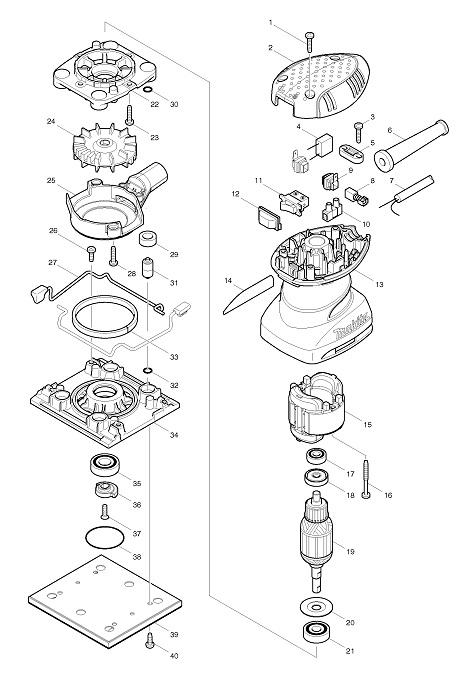 Peças para Lixadeira Orbital BO 4556 - MAKITA