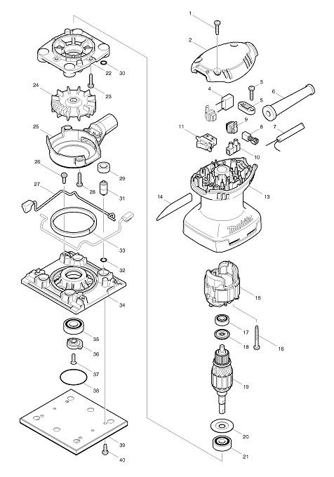 Peças para Lixadeira Orbital BO 4557 - MAKITA