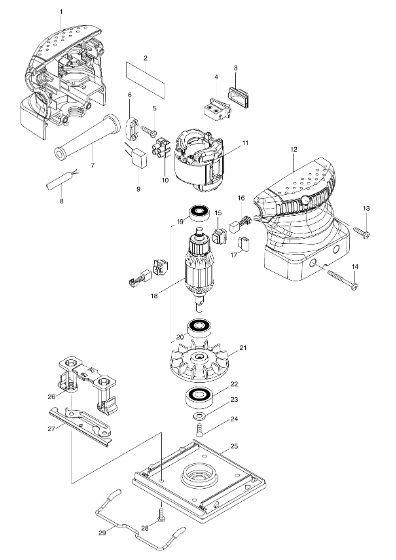 Peças para Lixaderia Orbital BO 4510 H - MAKITA