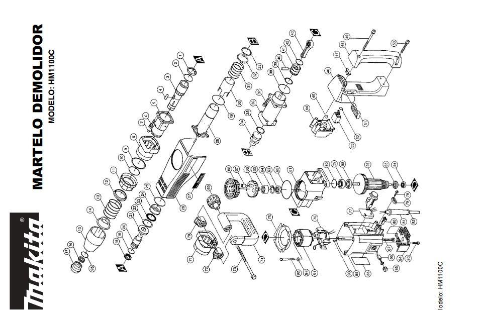Peças para Martelo Demolidor HM 1100 - MAKITA