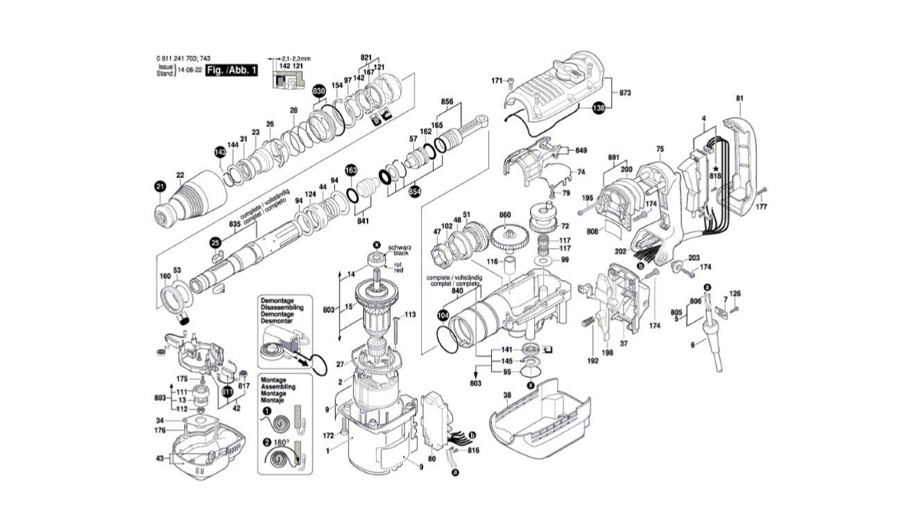 Peças para Martelo Perfurador GBH 5-40 DE - 0611241714