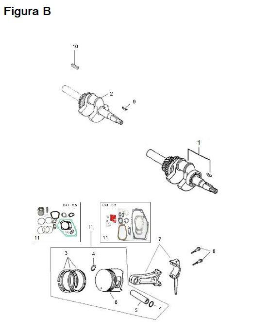 Peças para Motor Gasolina B4T-5.5H - BRANCO