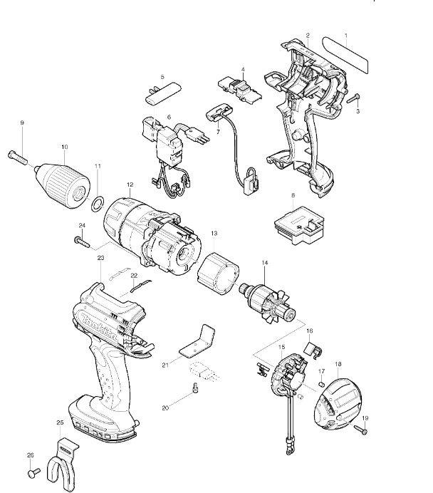 Peças para Parafusadeira de Impacto BHP451 - MAKITA