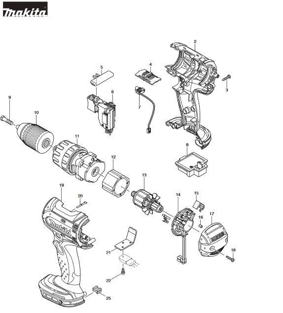 Peças para Parafusadeira de Impacto BHP452 - MAKITA