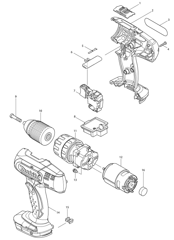 Peças para Parafusadeira/Furadeira Impacto Bateria DHP453 MAKITA
