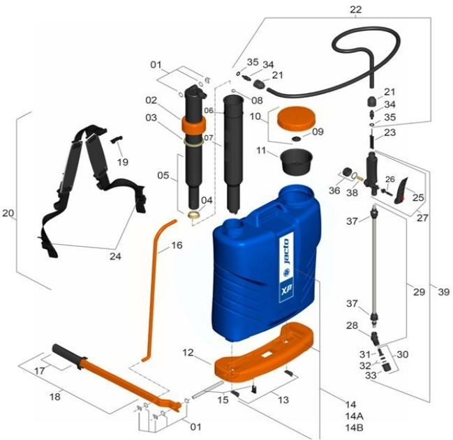 Peças para Pulverizador Jacto - XP 20L, 16L, 12L