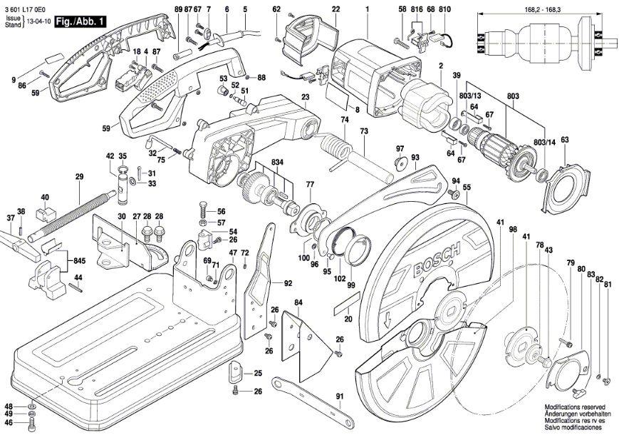 Peças Serra policorte Bosch GCO 2000 (3601L170E0)