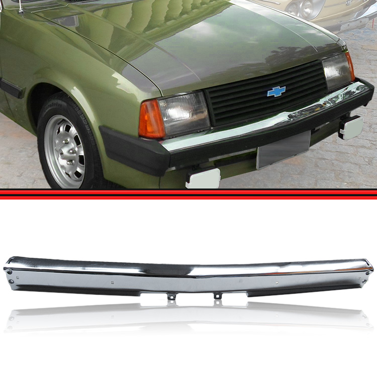 Parachoque Dianteiro Lamina Chevette Chevy 500 Marajó Cromado 83 a 86 Sem Furos para Borrachão  - Amd Auto Peças