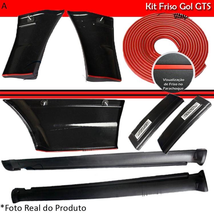 Kit Friso Lateral Gol GTS 91 á 95 Rolo Friso + Capa Coluna + Spoiler Preto