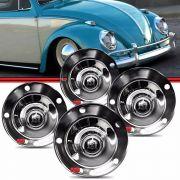 KIT Calota Tipo Viagem Centro Roda Fusca 5 Furos 1200 1300 1300L 1500 1600 Aço Cromado com Emblema Castelo 4 Peças