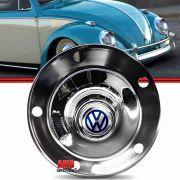 Calota Tipo Viagem Centro Roda Fusca 5 furos 1200 1300 130L 1500 1600 74 a 85 Aço Cromado com Emblema VW