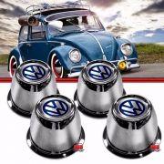 Kit Copo Copinho Calota Centro Roda Fusca 70 a 96 4 Furos Aço com Emblema VW