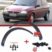 Kit Moldura Paralama + Porcas Plástica Corsa Wind Hatch Sedan Wagon Pick-Up 94 a 10 Preto Poroso