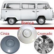 Calota Centro Roda Kombi Fusca Brasilia Branca Cromada e Cinza