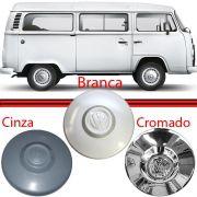 Calota Centro Roda Kombi Fusca Brasilia 74 a 96 Branca Cromada e Cinza