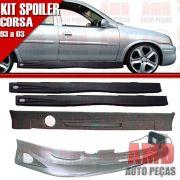 Kit Spoiler Corsa 93 a 99 4 Portas Dianteiro + Traseiro + Lateral Com Tela