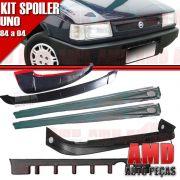 Kit Spoiler Uno 84 á 04 4 Portas Dianteiro + Lateral Com Tela + Traseiro + Aerofolio
