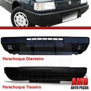 Parachoque Dianteiro + Traseiro Uno Mille 84 a 04 Preto Poroso