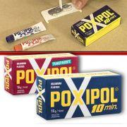 Poxipol Adesivo Cola Epoxi Pastoso Transparente ou Cinza 16g14ml