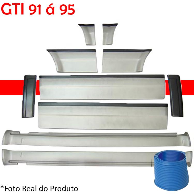 Kit Friso Lateral Gol GTI 91 á 95 Rolo Friso + Capa Coluna + Spoiler Prata com Preto
