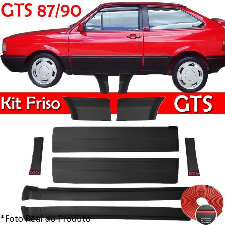 Kit Friso Lateral Gol GTS 87 á 90 Rolo Friso + Capa Coluna + Spoiler Preto  - Amd Auto Peças