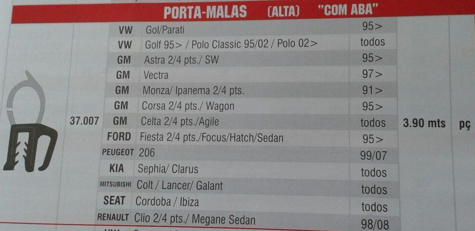 Borracha Mala Universal Passat Parati Monza Panorama Topi Renault Peugeot Universal 4,55 Metros