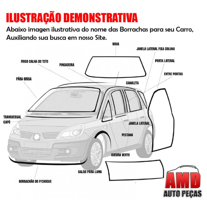 Kit Jogo Borracha Porta Opala 4 Portas 69 a 92 Diantero e Traseiro 4 Peças  - Amd Auto Peças