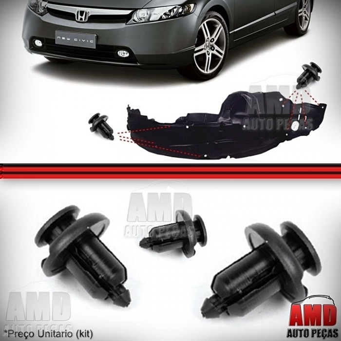 Kit Grampo Presilha Parabarro Honda Civic City Fit CRV Accord Legend  - Amd Auto Peças