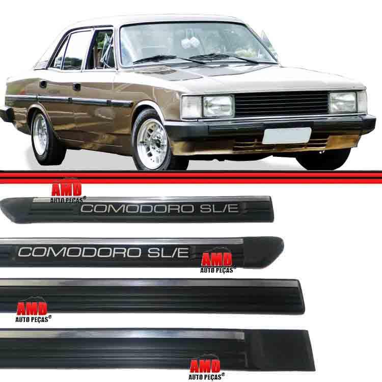 Jogo Friso Lateral Opala Comodoro 85 a 92 4 Portas Auto Colante Adaptável Opala 81 a 84  4 Portas