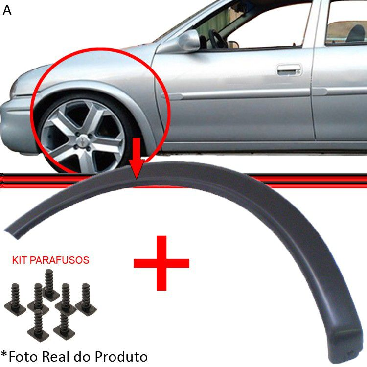 Moldura Paralama Corsa Wind Hatch Sedan Wagon Pick-Up 94 a 10 Preto Poroso
